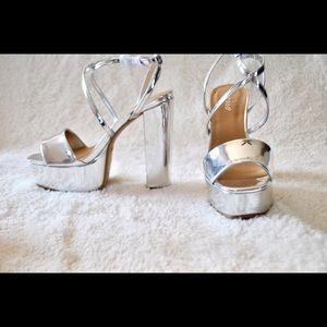 Bamboo silver metallic platform sandals heels